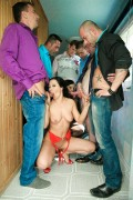 Abbie Cat and Sandra Romain in hot gangbang from evilangel
